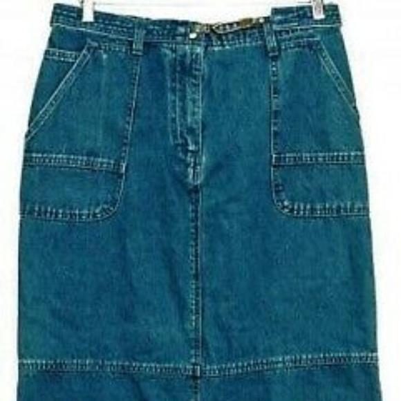 Christopher & Banks Dresses & Skirts - Vintage Maxi Boho Jean Skirt Sz 8 30x35 Self belt